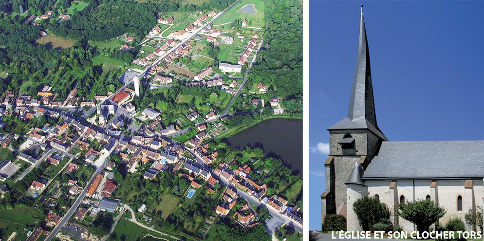 Vue aérienne de Saint-Viâtre et son clocher tors