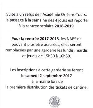 INFO RYTHMES SCOLAIRES // RENTRÉE SCOLAIRE  2017-2018