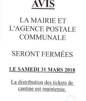 Fermeture Mairie et agence postale communale