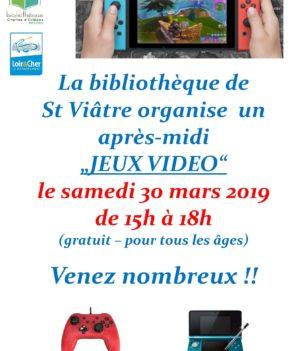 Jeux Vidéo – 30 mars 15H à 19H