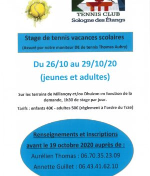 Stage de Tennis – Vacances de la Toussaint.