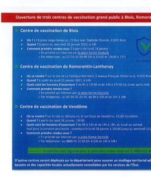 COVID-19 : Centres de vaccination.