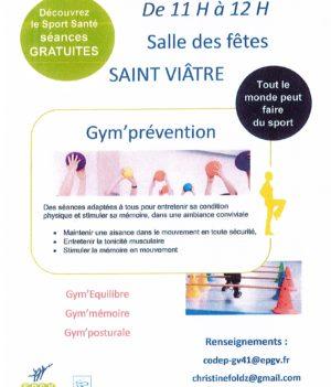 Gym' Prévention – Tous les mercredis à Saint-Viâtre !