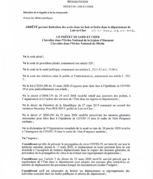 Arrêté portant limitation des accès dans les bois et forêts dans le département du Loir-et-Cher
