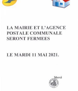 Fermeture mairie et agence postale – 11 mai